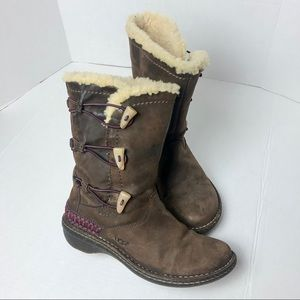 UGG | Brown Hard Sole Boots with Stitching